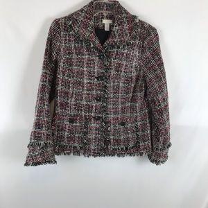 Chico's Sz 1 Tweed Jacket Double Fringe Sleeve